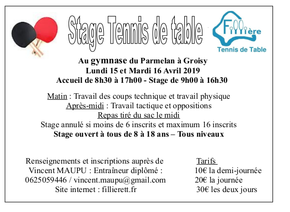 Affichette stage FILIERE TT avril 2019